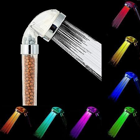 Amison Soffione Doccia A Led Cambia Colore A Risparmio Idrico 7 Colori Automatico Ad Alta Pressione Con Filtro Anion Amazon It Fai Da Te