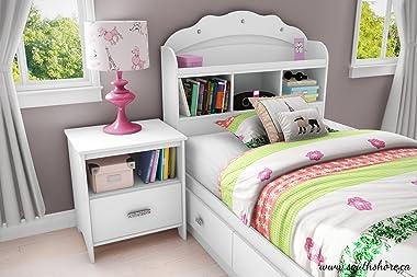 South Shore Tiara Twin Bookcase Storage Bed in Pure White