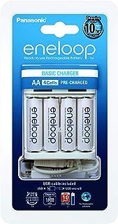Panasonic eneloop USB-laddare för 2 eller 4 AA/AAA NiMH-batterier, med micro USB-laddningskabel och 4 eneloop AA/Mignon-ba...