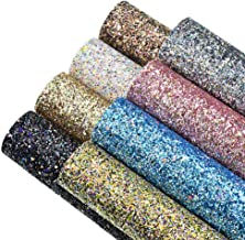 8 Colors 8x12 Inch Faux Leather Chunky Glitter Fabric Sheets Canvas Back for Bows Earrings Ornaments Making, Each Color One Sheet