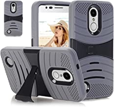 LG Phoenix 3 Case, LG Rebel 2/K4 2017 Case, Hybrid Heavy Duty Shockproof 3 in 1 [Hard Plastic+Soft Silicone] Armor Defender Full-body Protective Case Cover with Kickstand for LG K4. (Gray/Black)