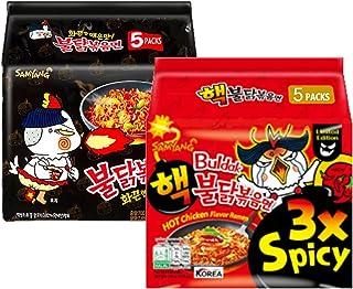 [10PACKS] Samyang Original Black & Extreme hot 3X spicy Chicken Ramen [noodles] Buldak and hot 3x spicy Korean ramen- 10 p...