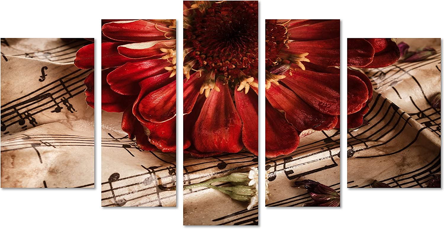QICAI 5 Panels Vintage Music Notes with Red Flower Painting Flower Wall Decor Flower Paintings on Canvas Wall Art for Living Room Bedroom Home Bathroom Decoration Stretched and Framed Ready to Hang