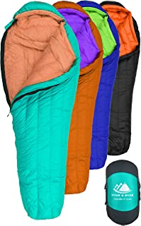 Hyke & Byke Eolus 0 Degree F 800 Fill Power Hydrophobic Goose Down Sleeping Bag with ClusterLoft Base - Ultra Lightweight 4 Season Men's and Women's Mummy Bag Designed for Backpacking