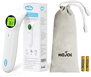 Mojoe Medical Forehead and Ear Digital Thermometer for Fever, Instant Accurate Reading for Baby, Kids and Adults Non-Contact with LCD Display, CE & FDA Approved