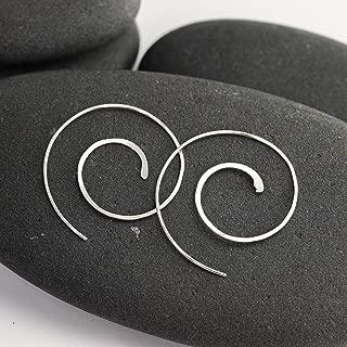 Hammered Silver Spiral Hoop Earrings
