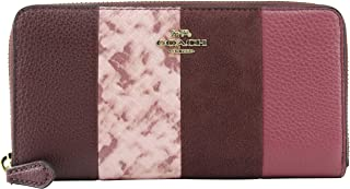 Coach Women's Accordion Zip Wallet In Wine Multi/Light Gold, Style F66014.