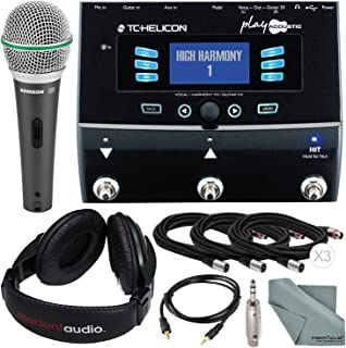 TC-Helicon Play Acoustic Vocal and Acoustic Guitar Effect Processor Pedal and Deluxe Accessory Bundle w/Samson Q6 Mic+ Stereo Headphones + Adapter+ Fibertique Cloth + More