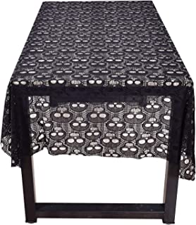 leegleri Black Lace Tablecloth for Rectangular Skull Tablecloth Overlays for Kitchen Dinner Parties Festive Supplies (60 in x 84 in )