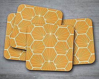 Posavasos de color caramelo con un diseño hexagonal blanco, posavasos individuales o juego de 4