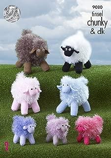 King Cole Tinsel Chunky & DK Knitting Pattern Small Medium or Large Sheep Toys (9080)