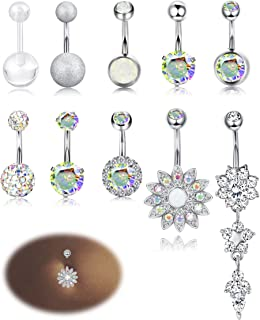 10-12PCS Stainless Steel Belly Button Rings for Womens Girls Navel Rings Barbell Dangle Acrylic CZ Body Piercing Jewelry