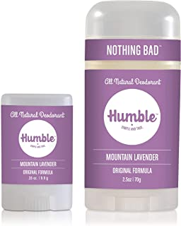 Humble Brands All Natural Aluminum Free Deodorant Stick for Women and Men, Lasts All Day, Safe, and Certified Cruelty Free Bundle with Full and Travel Size, Mountain Lavender