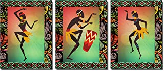 Poylaamo, Tribal Dance Modern Art Wall Painting for Living Room Framed on MDF Board. Size 12X9 Inches each.