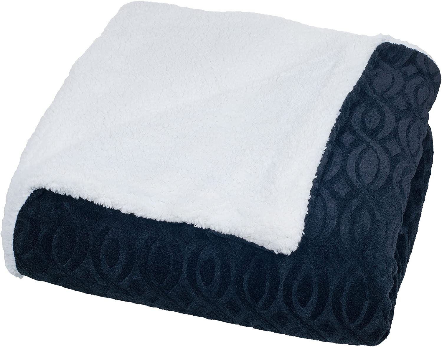 Bedford Home Geometric Etched Blanket with Sherpa, Twin, Black
