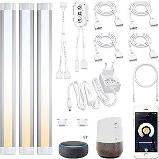 Lampaous 3 luces LED inteligentes de 4 W, luz blanca cálida, luz blanca fría, regulable, barra de luz compatible con Amazo...