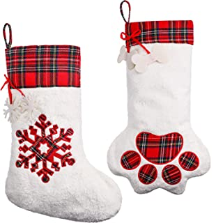 Tatuo 2 Pieces Hanging Christmas Stocking Large Dog Paw Stocking Plaid Snowflake Christmas Stocking for Festival, Gift and Pet Decoration