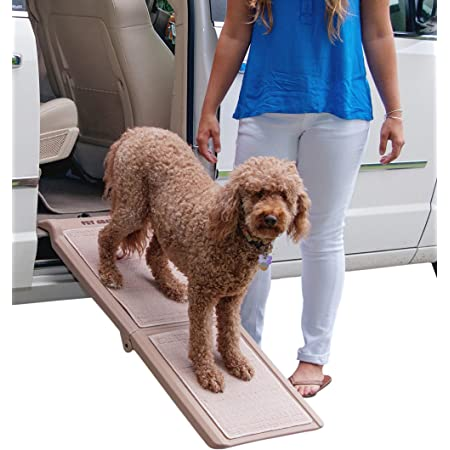 Pet Gear Travel Lite Bi Fold Ramp For Cats Dogs Lightweight Portable Safety Tether Included Rubber Grippers For Stability Pg9050tn Pet Training And Behavioral Aids Kitchen Dining