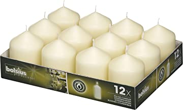 BOLSIUS Set of 12 Ivory Pillar Candles – 2.5-x3-inch Unscented Candle Set –..