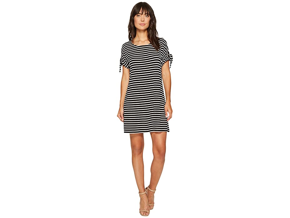 Calvin Klein Short Sleeve Striped Dress with Tie Sleeve (Black/White) Women