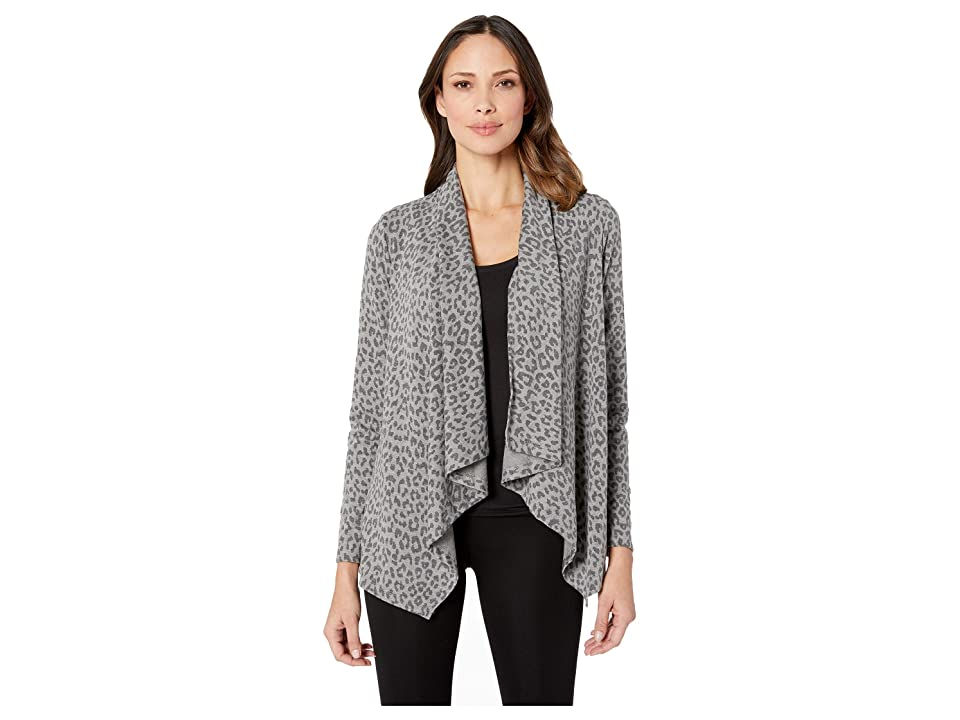 B Collection by Bobeau Printed French Terry Cardigan (Leopard Camo) Women