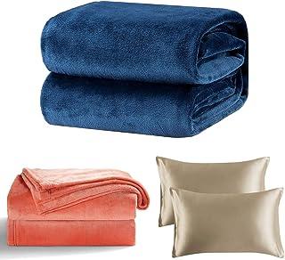 Bedsure Fleece Blanket Throw Size Navy and Fleece Blanket Twin Size Coral Lightweight Twin Blanket and Satin Pillowcase fo...
