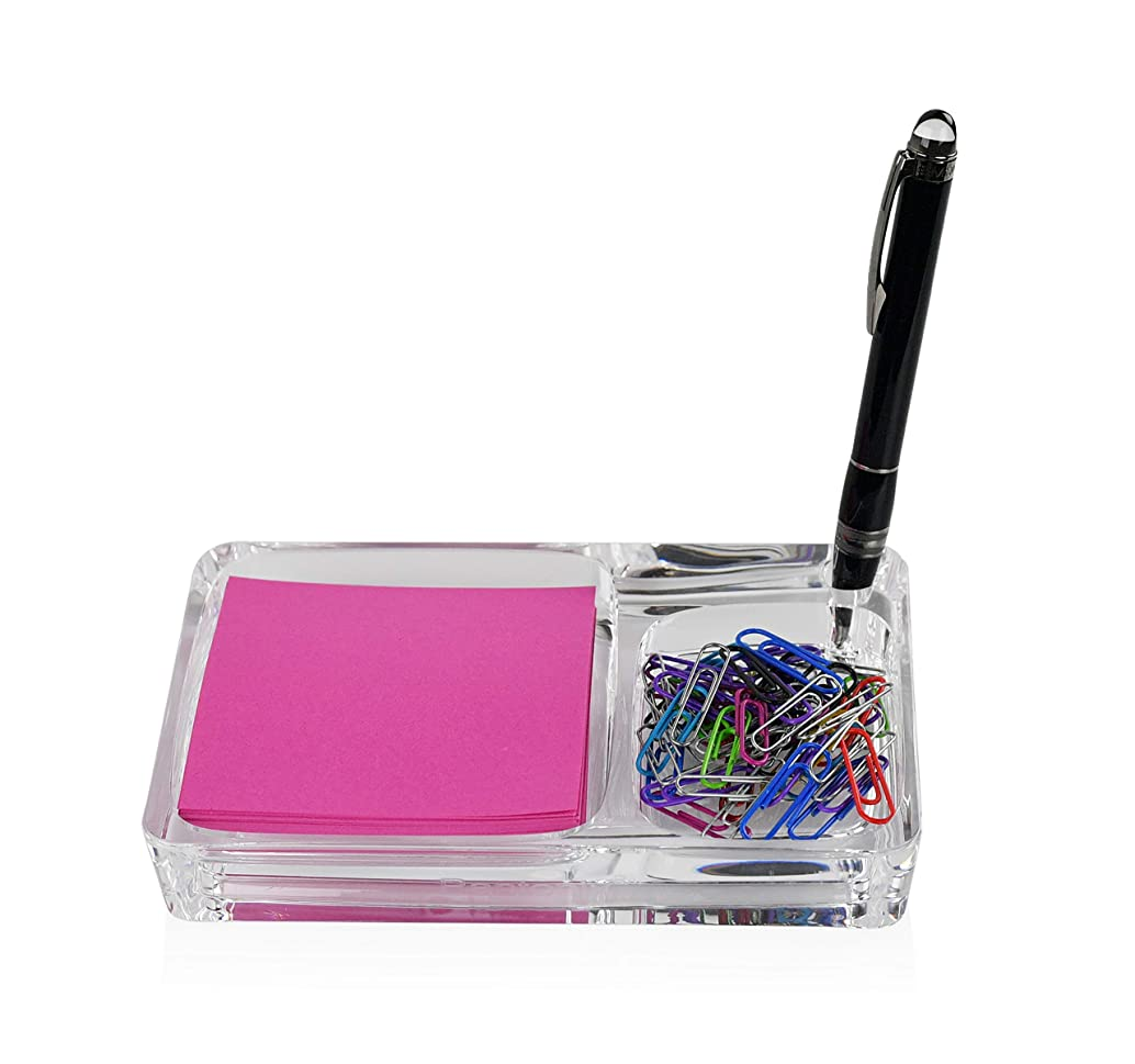 ARAD Acrylic Container for Office Supplies, Dual Compartment for Sticky Notes/Pens