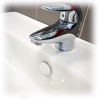Fischer 551886 - Tapón de rebosadero TTP K, color blanco, apto para agujero en lavabos, lavabos y bidés, para baños y cocinas, 551886