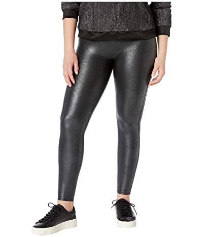 Spanx Plus Size Faux Leather Pebbled Leggings (Pebble Grey) Women