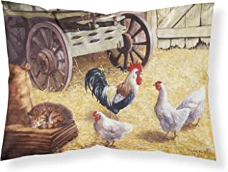 Caroline's Treasures Rooster and Hens Chickens in the Barn Fabric Standard Pillowcase BDBA0339PILLOWCASE, Multicolor