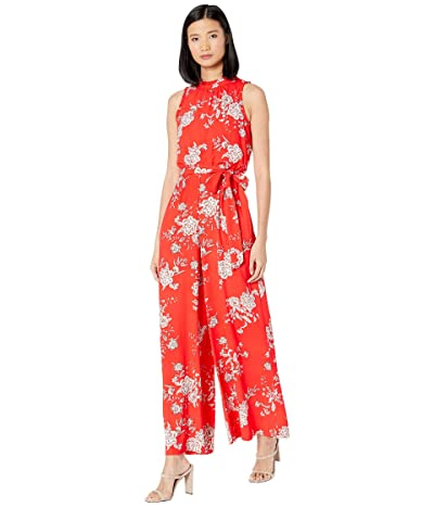Vince Camuto Printed Crepe Wide Leg Jumpsuit with Ruffle at Neck and Armholes (Poppy) Women