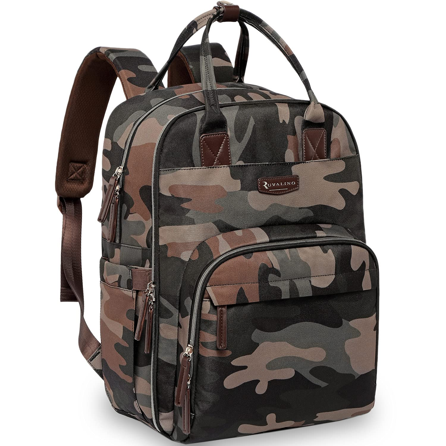Diaper Bag Backpack, RUVALINO Multifunction Large Capacity Travel Backpack for Men, Waterproof Baby Diaper Bags with Changing Pad for Boy and Girl, New Dad Gifts, Green Camo