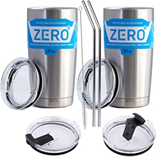 Stainless Steel Tumbler with Lid, Double Wall Vacuum Insulated Travel Mug for Hot and Cold Drink by Zero Degree (20oz 2 Pack)