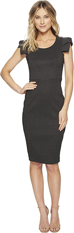 Calvin Klein Dotted Print Folded Sleeve Detail Compression Sheath CD8E11KM