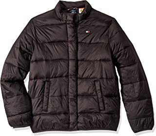 Tommy Hilfiger Boys' Adaptive Light Weight Down Puffer Jacket with Magnetic Buttons, DEEP Woven Black, XL