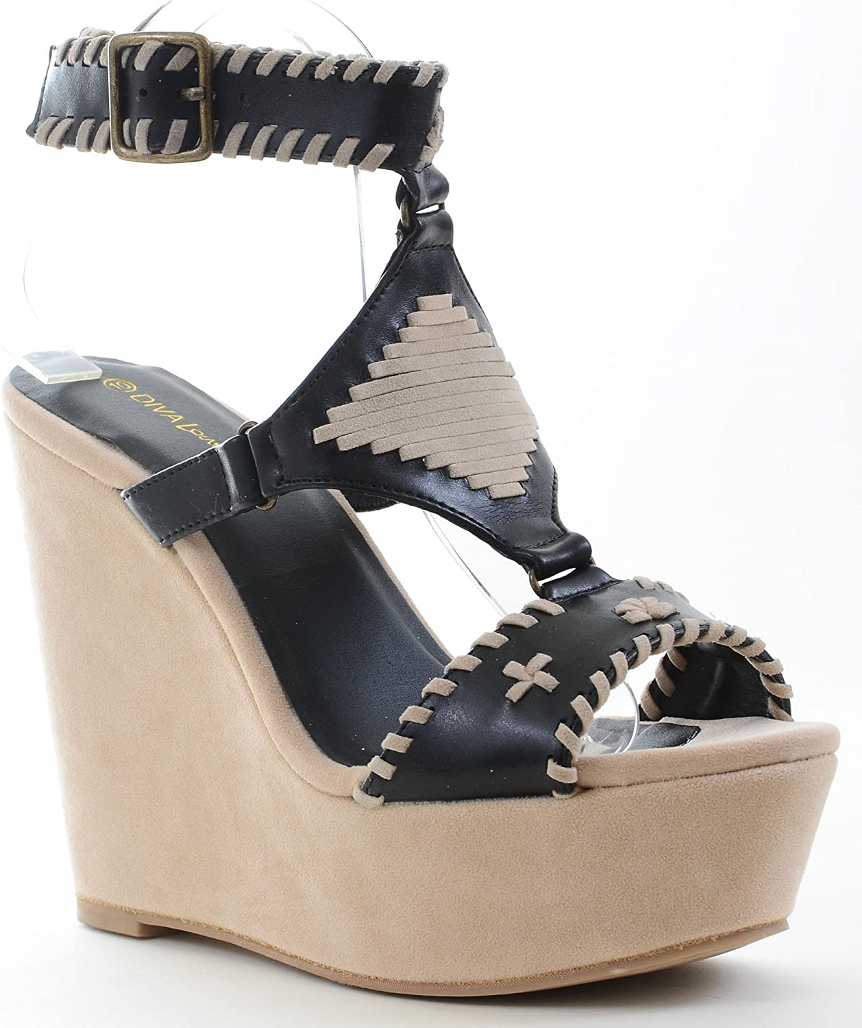 Fourever Funky Stitched Woven Anklet Open Toe Wedge Sandal Black