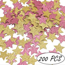 Glitter Stars Confetti Girls Birthday Baby Shower Decorations Princess Theme Confetti, Pink and Gold, 200ct