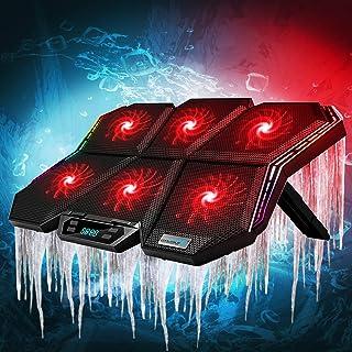 ノートパソコン冷却パッド 冷却台 12種RGB変換ライトモード LED搭載 6つ冷却ファン 3段階風量調節可 静音 安定 ノートPC クーラー 7段階高度調節可 2つUSBポート付 9-17インチ PS4/iPad等に対応 【2021最新進化型】