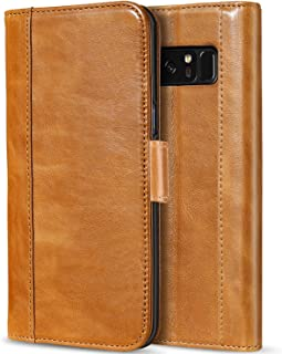 ProCase Galaxy Note 8 Genuine Leather Case, Vintage Wallet Folding Flip Case with Kickstand Card Slots Magnetic Closure Protective Cover for Galaxy Note8 -Brown