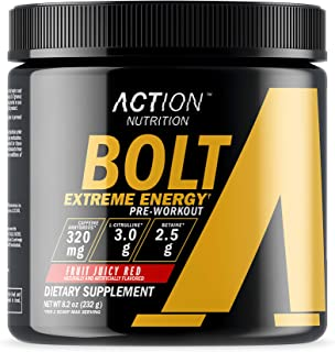 Bolt Extreme Energy - Fruit Juicy Red - 30 Scoops - Action Nutrition - Pre Workout