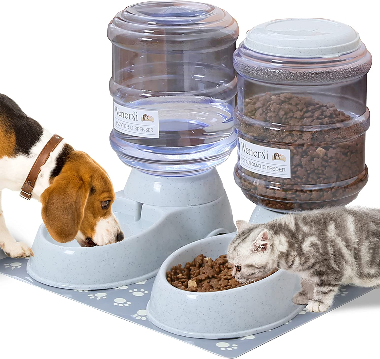 WENERSI Automatic Cat Feeder and Water Dispenser Set with Pet Food Mat,Dog Water Bowl Dispenser and Automatic Dog Feeder,Big Capacity Cat Food Dispenser 1 Gallon2