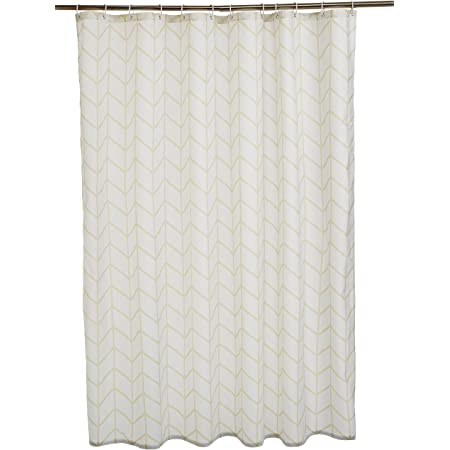 Amazon Basics - Cortina de ducha de tejido estampado (180 x 200 cm), diseño de espiga beige