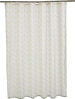 comprar comparacion AmazonBasics - Cortina de ducha de tejido estampado (180 x 200 cm), diseño de espiga beige