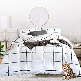Jumeey Plaid Comforter Set White Buffalo Gingham Checkered Geometric Pattern Printed 100% Cotton Fabric with Soft Microfiber Inner Fill Bedding Grid Bed Set for Women Adults(3pcs,Queen Size)