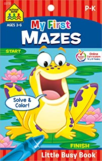 School Zone - My First Mazes Workbook - Ages 3 to 6, Preschool to Kindergarten, Activity Pad, Maze Puzzles, Coloring, and ...