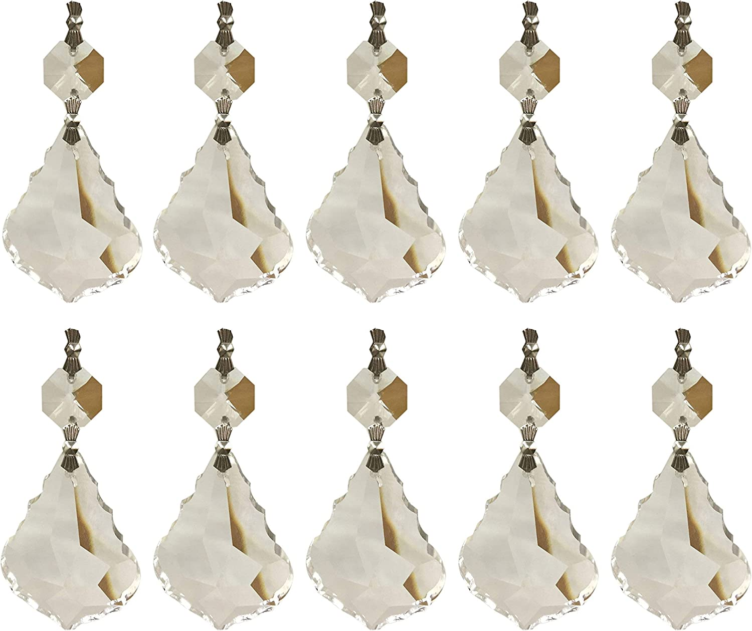 Polished Gold Plated 10 Pieces  G1002G-CR010 Brass Framed Crystal Teardrop Glass Pendant