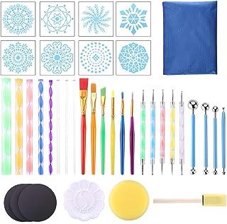 Mandala Kit,Kit Mandala 38 pcs Kit Mandala Peinture Mandala Dotting Tools Kit Outil Peinture pour Mandala DIY Stylos à Poi...