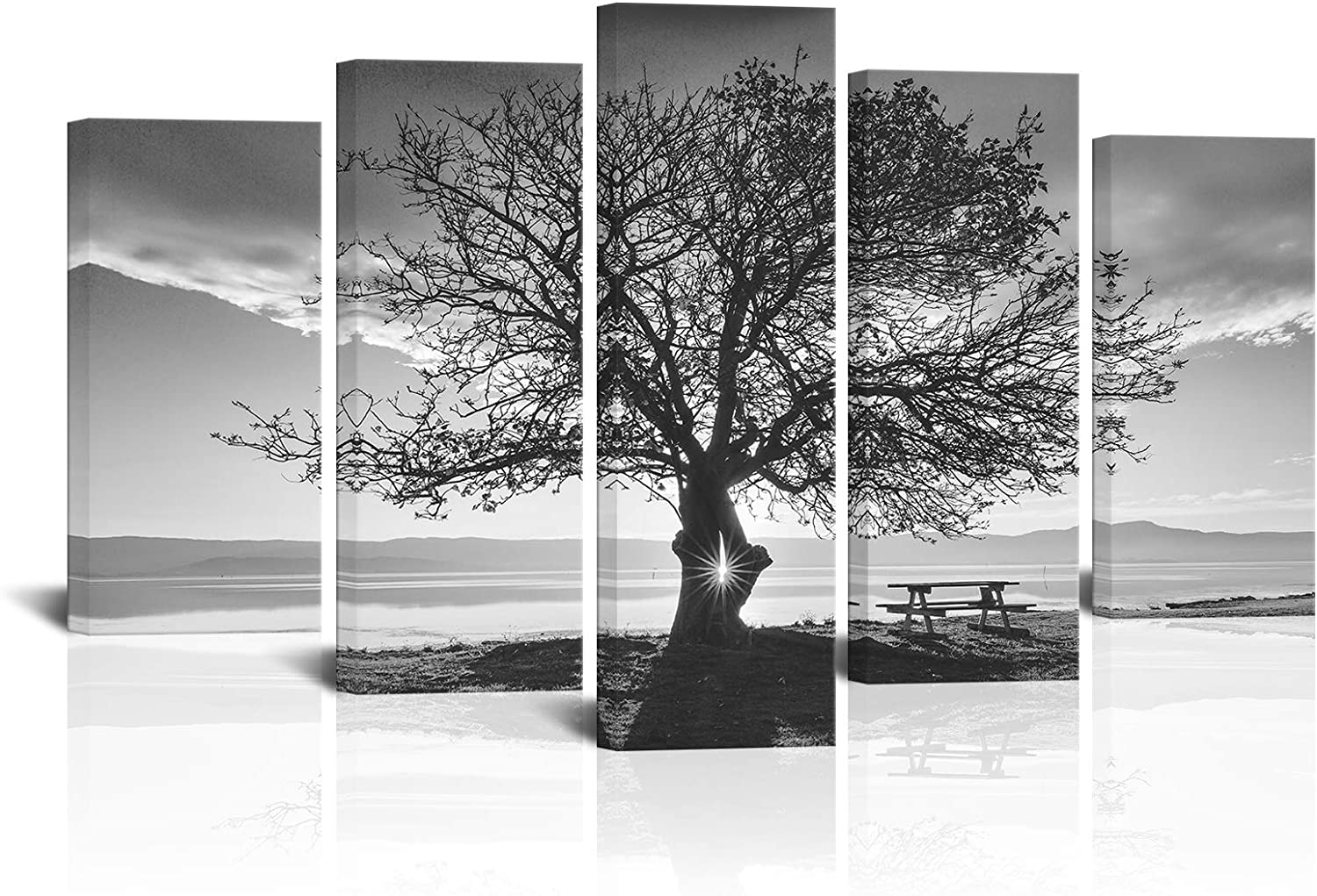 LoveHouse Black and White Tree Picture Wall Art Sunset Shot Tree Canvas Print Wall Decor Framed and Stretched Nature Landscape Painting for Bedroom Living Room Office Ready to Hang