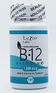 Lexor Labs Cyanocobalamin B12, B6 & Folic Acid Quick Dissolve Tablets - 1000 Mcg 100Count- Vitamin B Supplements - Supports Brain Cells, Heart, Circulation