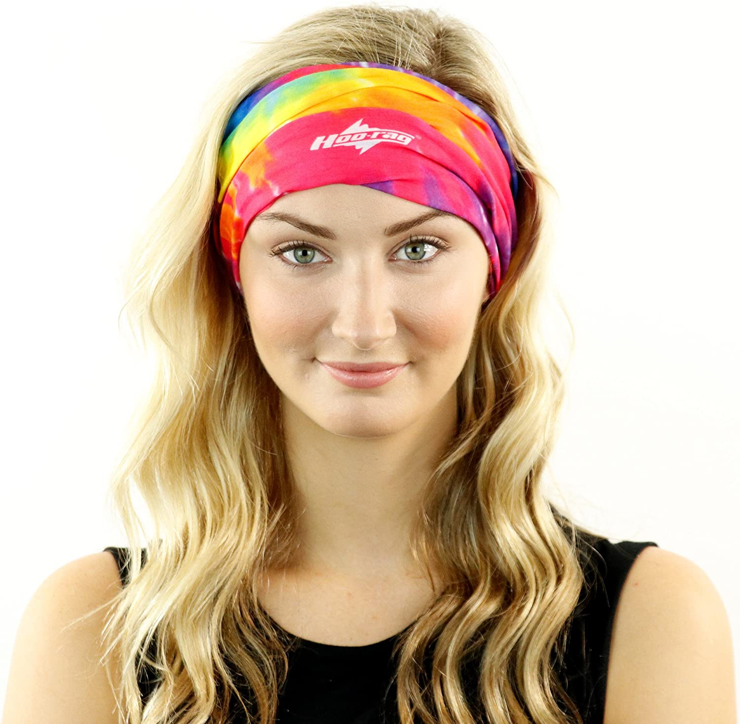Hoo-Rag - High Performance 100% Moisture Wicking Polyester Microfiber Multi-Functional Face Mask & Neck Cover - UPF 30 - One Size Fits Most - Tie Dye